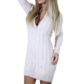 Winter Sweater Dress Sexy V Neck Zipper Dresses Warm Bodycon Mini Dresses Fashion Zip-up Women Dress New GV101
