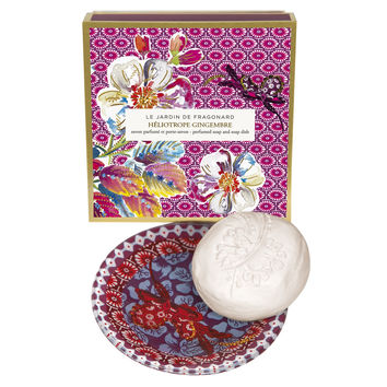 Fragonard, JARDIN DE FRAGONARD, HELIOTROPE GINGEMBRE, Perfumed Soap & Dish Set, 150 g (5.29 oz)