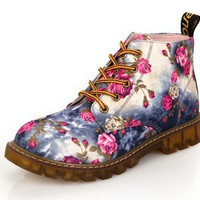 Fashion Retro Floral Print Flat Heel Nubuck Leather Ankle Boots