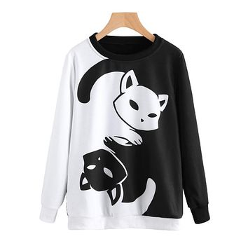 Anime Cat Printing Sweatshirt Women's Autumn Harajuku Hoodies Tops Girls Lady Long Sleeve Casual Pullover Hip Hop Jumper #YL