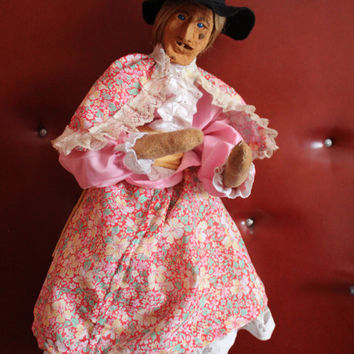 Vintage Hand Made Witch Doll, Witch Figurine, Wicked Witch, Character Doll, Ceramic Face, Collectible Doll,  Horror Doll, Decor