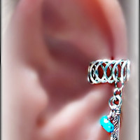 Tribal Ear cuff with silver feather charm- Earlum