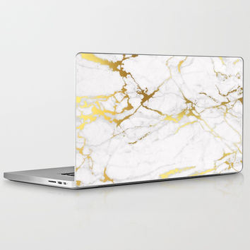 White gold marble Laptop & iPad Skin by printapix