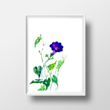 Purple morning glory watercolor flower painting wall art print poster decor livingroom decal print hydrangea floral art poster large & small