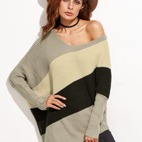 Color Block Dolman Sleeve Sweater
