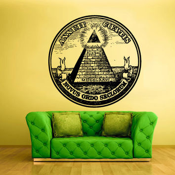 Wall Vinyl Sticker Decals Decor Art Bedroom Design Mural Illuminati All seeing eye annuit coeptis (z2198)
