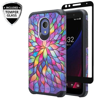 Alcatel 1x Evolve Case, [Include Temper Glass Screen Protector] Slim Hybrid Dual Layer [Shock Resistant] Case for 1x Evolve - Rainbow Flower