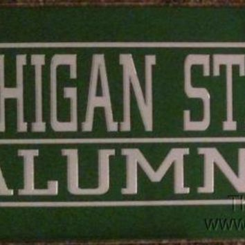 Michigan State Spartans ALUMNI SD Deluxe Laser Cut License Plate Tag University