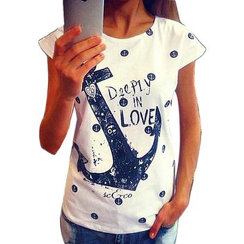 2018 Fashion Women's Summer T shirt Letter Print Anchor Slim Cotton Casual Tops T Shirts