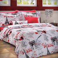 Custom Queen or Full Size Paris Theme Printed on White Backround Ranforce Bedding Set with Red Sheet and Pillowcases