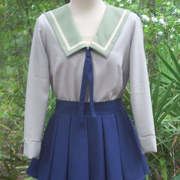 Japanese School Uniform Custom Made Any Colors/Any Style 3 Piece Sailor Fuku with Square or Rounded Collar Plus Tie or Bow and Pleat Skirt