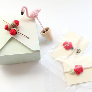 Valentine's Day Gift Box: Crochet Flamingo, Crochet Acorns, Crochet Bracelet, Crochet Necklace