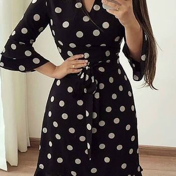 Women 3/4 Sleeve Floral Flower Loose Fit Evening Prom Cocktail Midi Party Dress