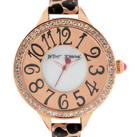 Betsey Johnson Ladies Crystallized Rose Gold Tone and Black Watch
