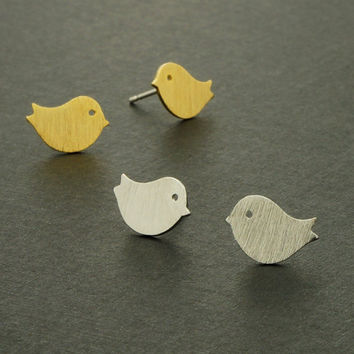Sparrow Stud Earrings / Silver, Gold / E018