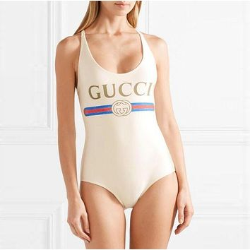 GUCCI Summer Popular Women Classic Letter Print U Collar Vest Style Back Cross One Piece Bikini Swimsuit Swimwear Bathing I