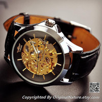 Mens Steampunk Leather Wrist Watch Groomsmen Gift, Mechanical Watch , Anniversary Gift For Men (ET0085-BLACK)