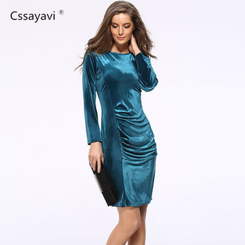 High quality woman party Dresses autumn winter 2016 velvet long sleeve sheath Dress sexy office bodycon women Dress plus size