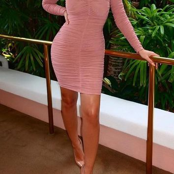 Pink Plain Pleated Ruched Band Collar Homecoming Club Mini Dress