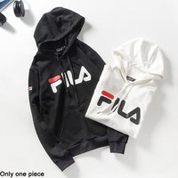 FILA Hot selling casual hoodie for couples fashion printed hoodie