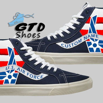 Hand Painted Vans. U.S. Air Force. Custom Name. Handpainted shoes.