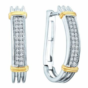 Sterling Silver Womens Round Diamond Two-tone Oblong Double Row Hoop Earrings 1/6 Cttw