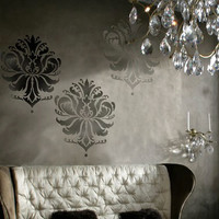 Damask Stencil Gabi's Brocade LG - Reusable stencils for walls instead of wallpaper - DIY