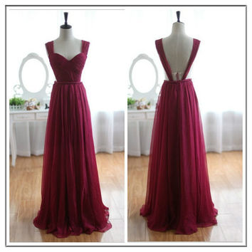 Red Long Formal Evening Ball Party Dress Prom Bridesmaid Dress, Backless Prom Dress Custom Made