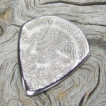Handmade Coin Guitar Pick -  Made with a Vintage 1974 Mexican Peso
