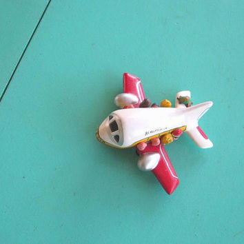 Modern Primitive 'Aero Mexico' Handmade Folk Art Airplane; Painted Wooden Plane w/ Mini Passengers; Rare Collectible Kitsch Mexican Decor