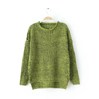 Ripped Long-Sleeve Knitted Sweater