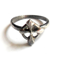 Silver Tone Cross Ring Vintage Size 6 1/2