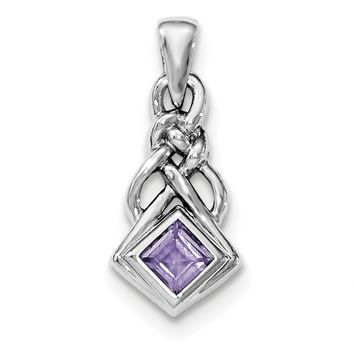 Sterling Silver Square Amethyst Knot Pendant