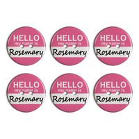 Rosemary Hello My Name Is Plastic Resin Button Set of 6