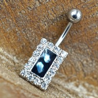 Crystal Paved Square Belly Button Ring with Mother of Pearl