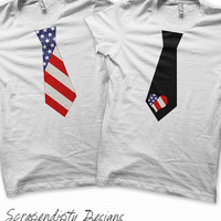 American Flag Iron on Transfer - Iron on Boys Tie Shirt / Toddler 4th of July Outfit / USA Flag Shirt / Kids Fourth of July Tshirt T92J-C
