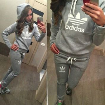 Gray Adidas Letters Long Sleeve Shirt Sweater Pants Sweatpants Set Two-Piece Sportswear