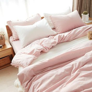 On Sale Home Hot Deal Comfortable Bedroom Cotton Rinsed Denim Bed Sheet Quilt Case [11641279503]