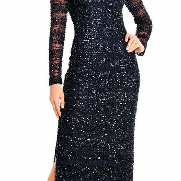Aidan Mattox - MD1E201685 Cold Shoulder Sleeves Sequined Gown