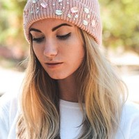 Crowning Glory Jeweled Rib Knit Cuff Beanie Hat - 5 Colors Available!