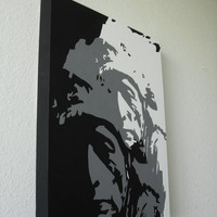 "16"" x 20"" - Black and White Native American Indian Chief Acrylic on Canvas Painting Original Art"