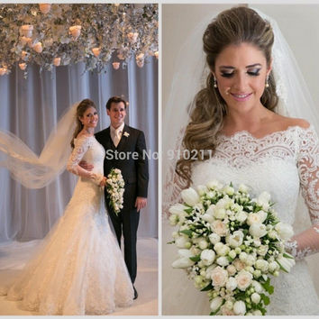 Unique A-Line High Neck Appliques Lace Wedding Dresses Vintage Long Sleeves  Bridal Gown Beach Wedding Gown