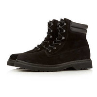 Black Suede Heavy Cleated Boots