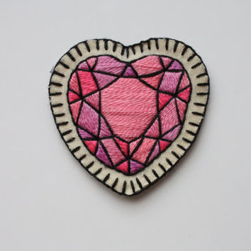 Hand Embroidered Crystal Heart Patch / Brooch. Pink Heart Gem Sew On Patch or Brooch / Pin. A/W 2015 Trends. *MADE TO ORDER*