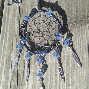 Dream Catcher Necklace - DreamCatcher Pendant - Tribal Metal Pendant - Feather Necklace - Native American Indian Jewelry - gypsy jewelry art