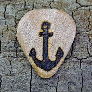 ONE ENGRAVED Wooden Guitar Pick - Anchor Design or Other Designs Available