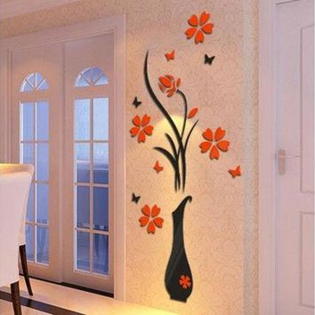 MDIGMS9 DIY Vase Flower Tree Crystal Arcylic 3D Wall Stickers Decal Home Decor Fancy Room Wall Decoration [8270481025]