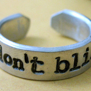 Don't Blink Doctor Who Ring - Hand Stamped Adjustable Narrow Aluminum Ring - customizable
