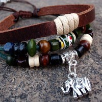 Elephant Beaded Multi-strand Leather Zen Bracelet, elephant charm