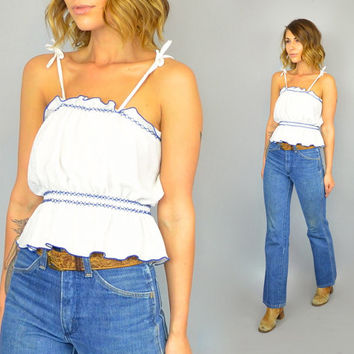 vtg 70s TIE SHOULDER blue + white ruffled boho western hippie CROP tank top, extra small-medium